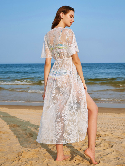 Floral Lace Tassel Beach Kimono $45