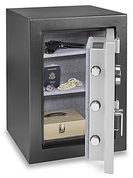 Heavy-gauge steel body and door. Fire rated at 1,400°F for 30 minutes. Keypad lock with key override. Adjustable shelves. Secure to floor. 3 locking bolts. Mounting hardware included.
